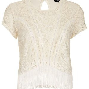Topshop Tops - Top shop white lace tassel tee